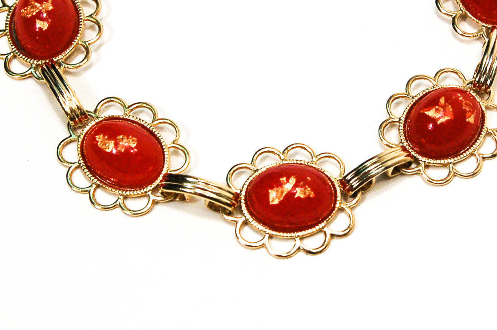 1950's  Red and Gold Fleck Bracelet, Bracelet - Vintage Meet Modern