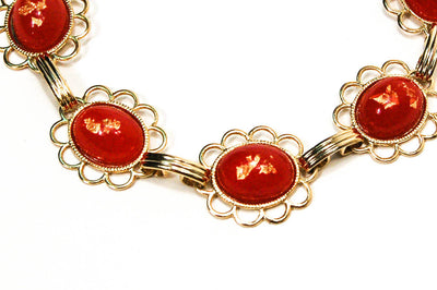 1950's  Red and Gold Fleck Bracelet by 1950's - Vintage Meet Modern Vintage Jewelry - Chicago, Illinois - #oldhollywoodglamour #vintagemeetmodern #designervintage #jewelrybox #antiquejewelry #vintagejewelry