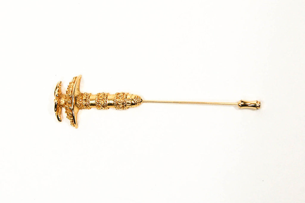 Gold Tone Umbrella Stick Pin by Mary McFadden - Vintage Meet Modern  - 1