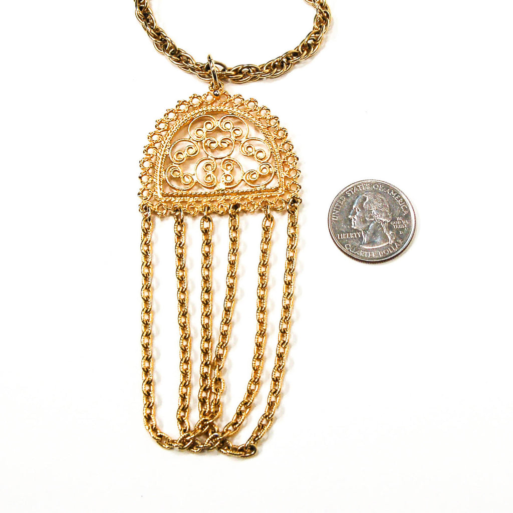 1970's Gold Tone Filigree Tassel Necklace, Necklaces - Vintage Meet Modern