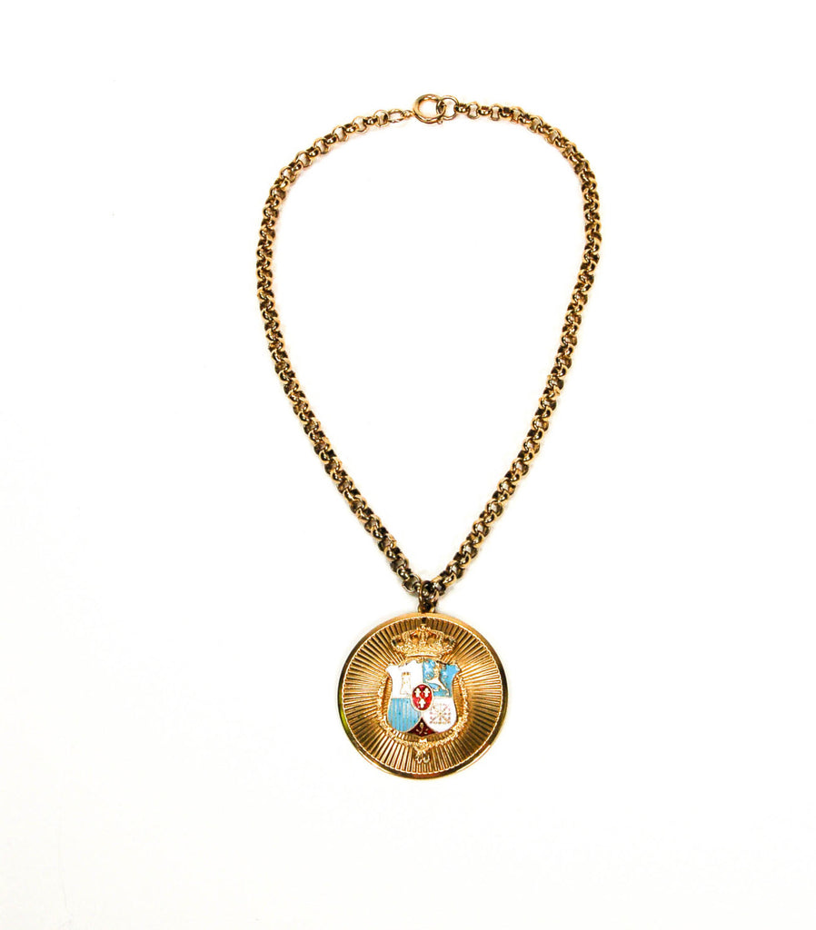 1940's Royal Crown Medallion Necklace, Necklaces - Vintage Meet Modern