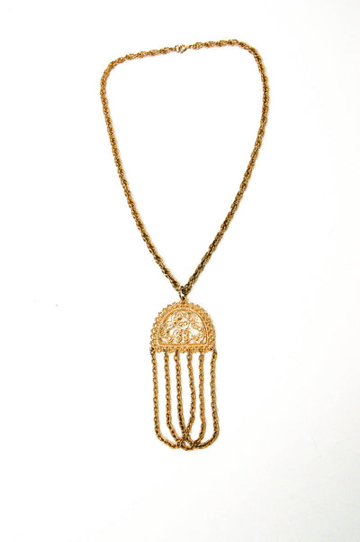 1970's Gold Tone Filigree Tassel Necklace by 1970's - Vintage Meet Modern - Chicago, Illinois