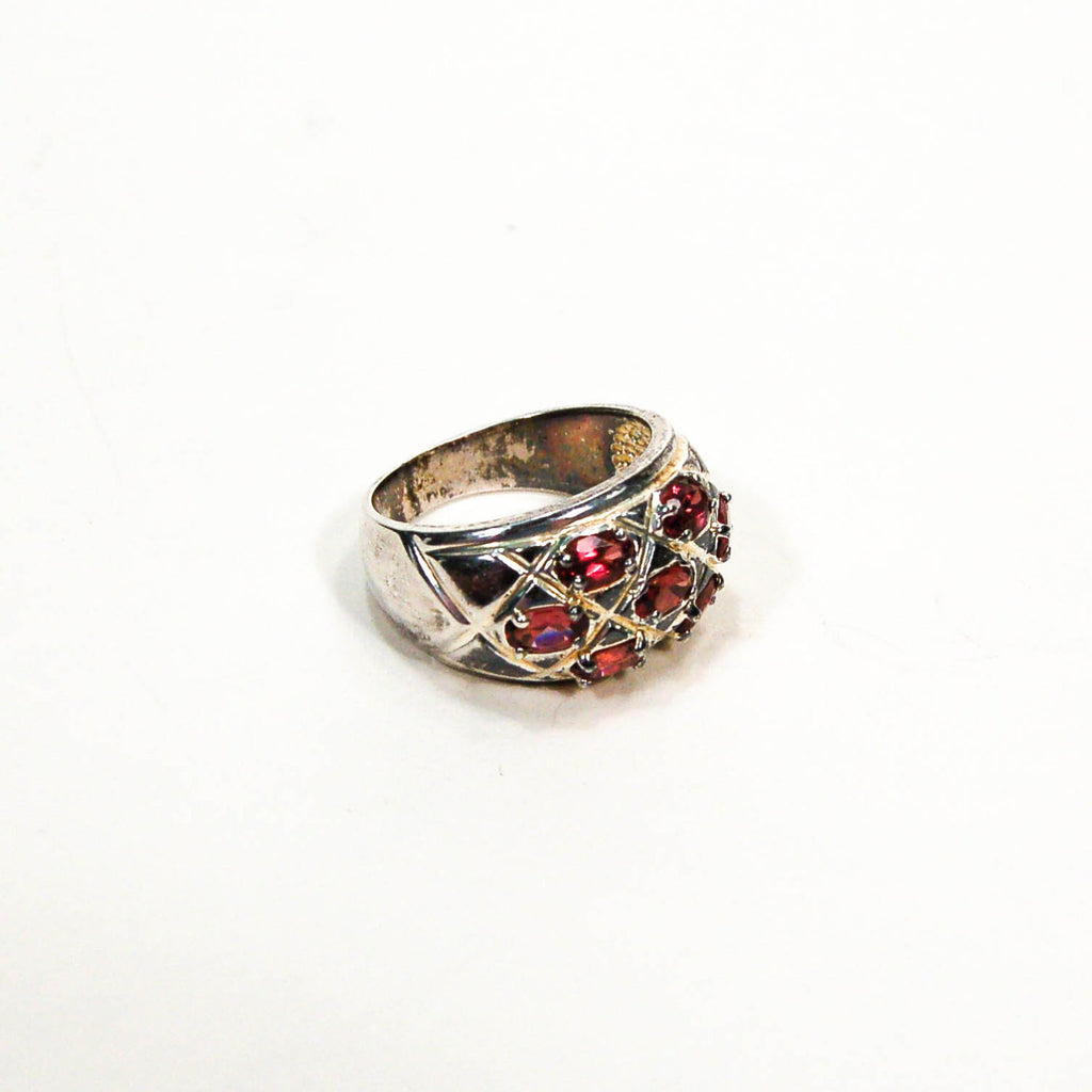 Sterling Silver Wide Brand Ring with Semi Precious Stones, rings - Vintage Meet Modern