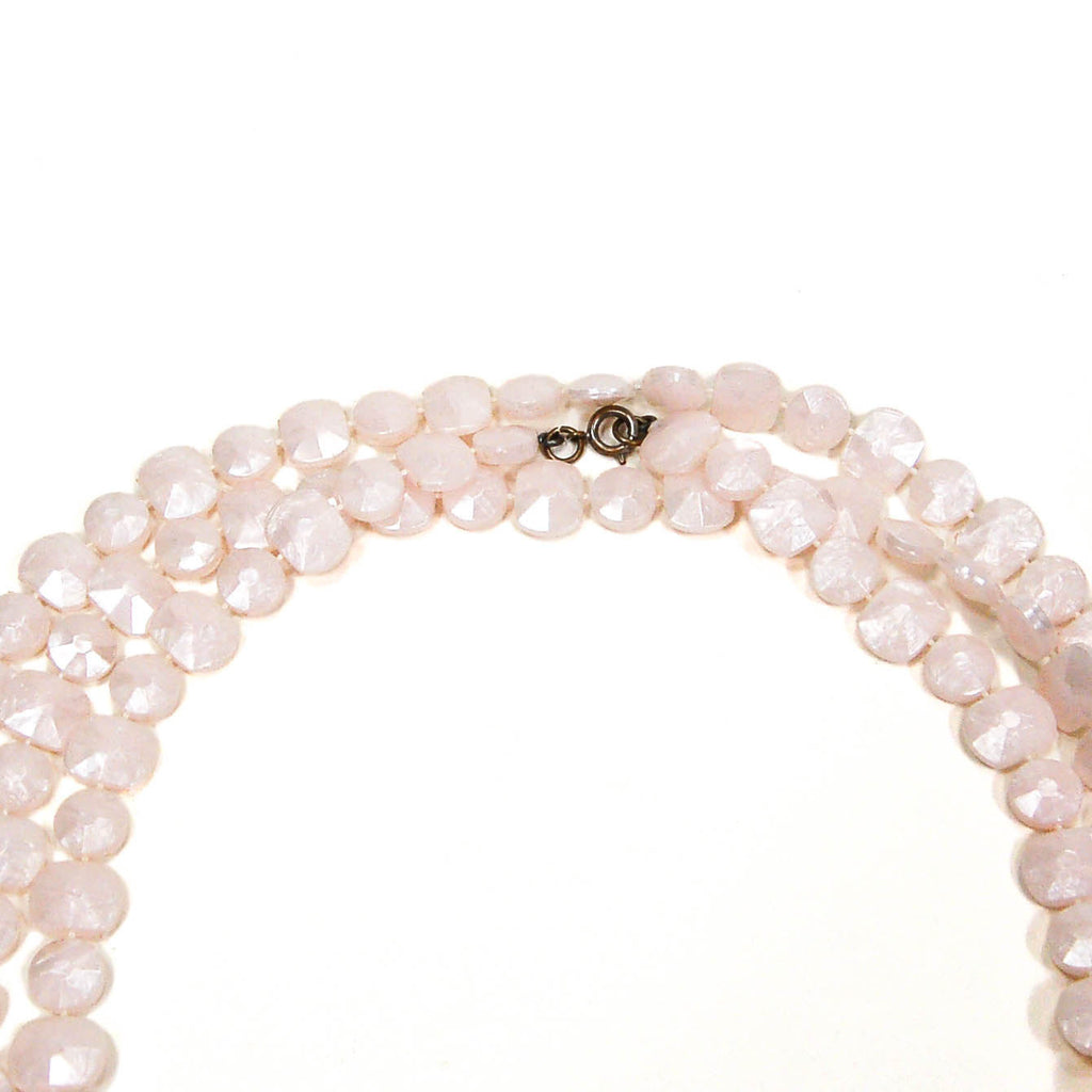 1960's Flat Faceted Pale Pink Bead Necklace, Necklaces - Vintage Meet Modern