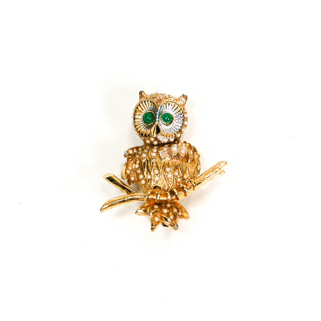 1970's Gold Tone Owl Brooch with Rhinestones by Ciner, Brooches - Vintage Meet Modern