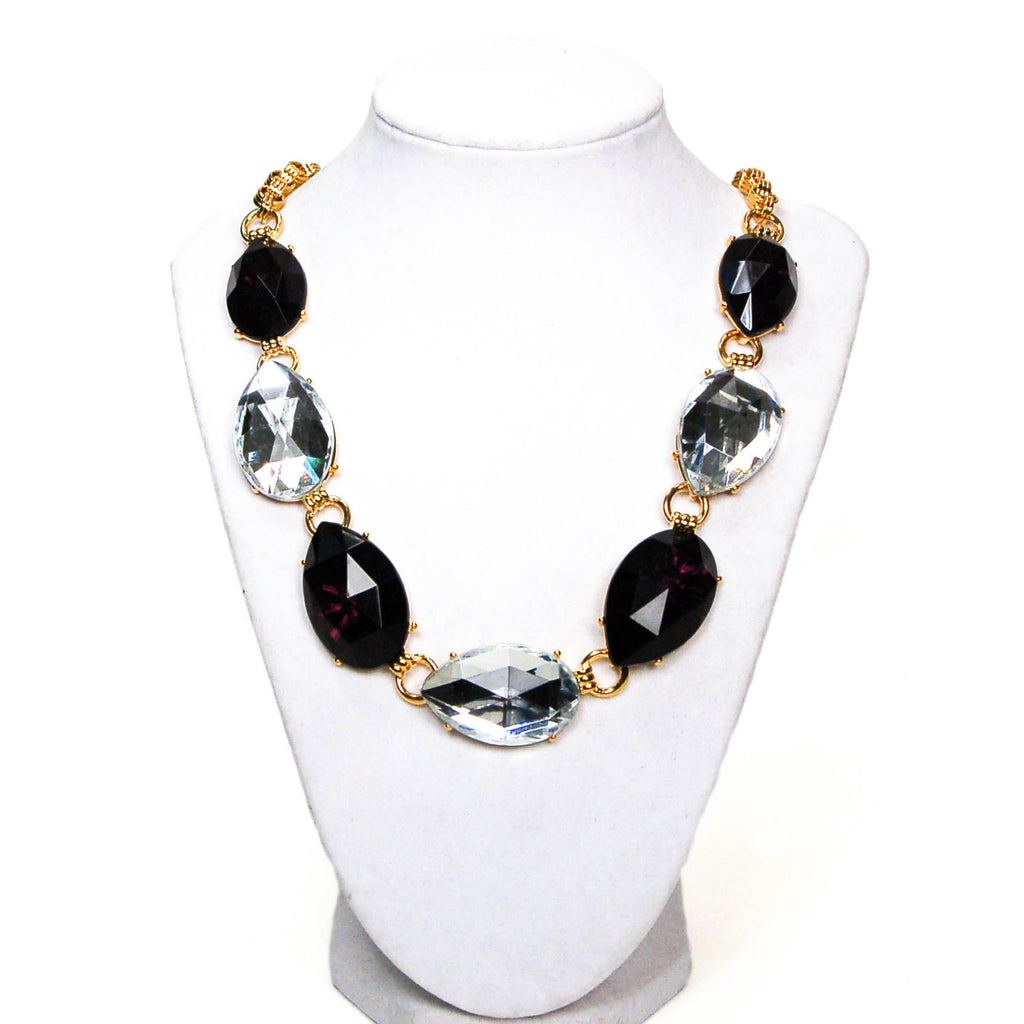 Bold Black and White Pear Shaped Rhinestone Necklace, Necklaces - Vintage Meet Modern