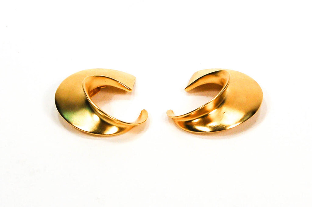 Over Sized Gold Tone Earrings by Clara Studio Inc - Vintage Meet Modern  - 2