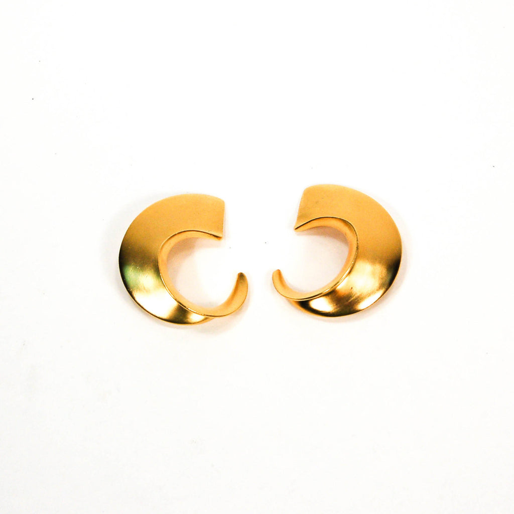 Over Sized Gold Tone Earrings by Clara Studio Inc - Vintage Meet Modern  - 1