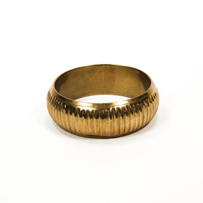 1970's Ribbed Brass Bangle, Bracelet - Vintage Meet Modern