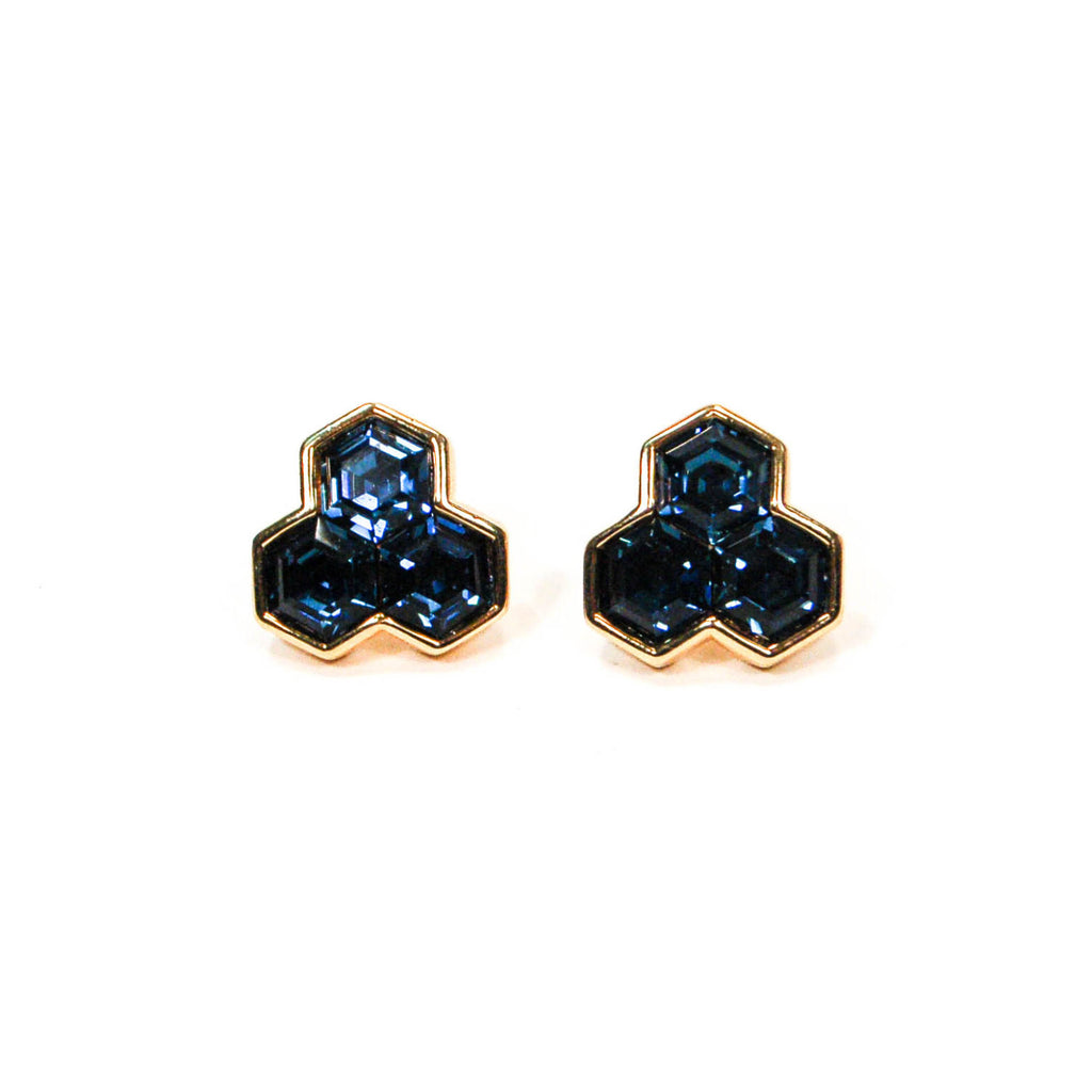 Hexagonal Blue Rhinestone Earrings by Swarovski - Vintage Meet Modern  - 1