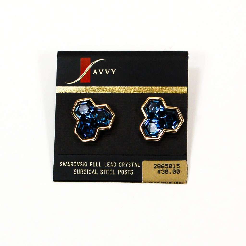 Hexagonal Blue Rhinestone Earrings by Swarovski - Vintage Meet Modern  - 2