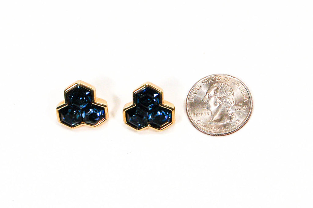 Hexagonal Blue Rhinestone Earrings by Swarovski - Vintage Meet Modern  - 3
