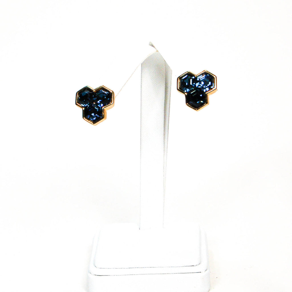 Hexagonal Blue Rhinestone Earrings by Swarovski - Vintage Meet Modern  - 4