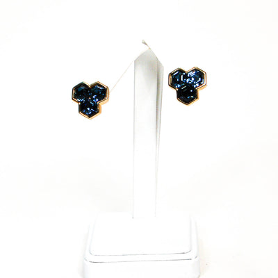 Hexagonal Blue Rhinestone Earrings by Swarovski by Swarovski - Vintage Meet Modern - Chicago, Illinois