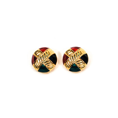 Round Jewel Tone Earrings by Anne Klein by Anne Klein Couture - Vintage Meet Modern Vintage Jewelry - Chicago, Illinois - #oldhollywoodglamour #vintagemeetmodern #designervintage #jewelrybox #antiquejewelry #vintagejewelry