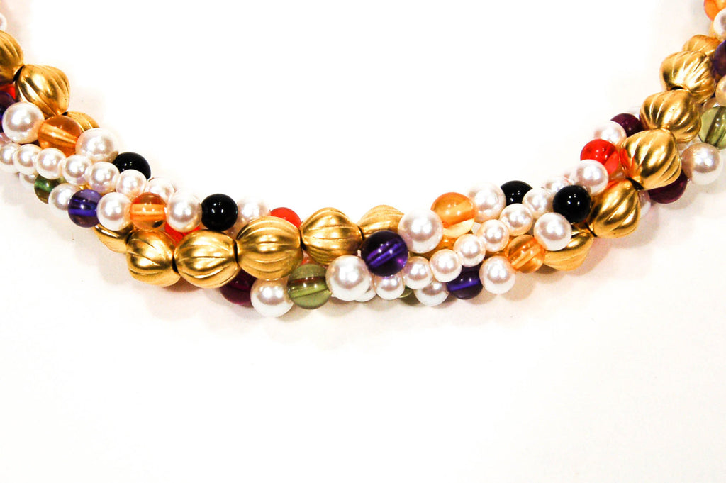 Colorful Beaded Necklace by Anne Klein - Vintage Meet Modern  - 4