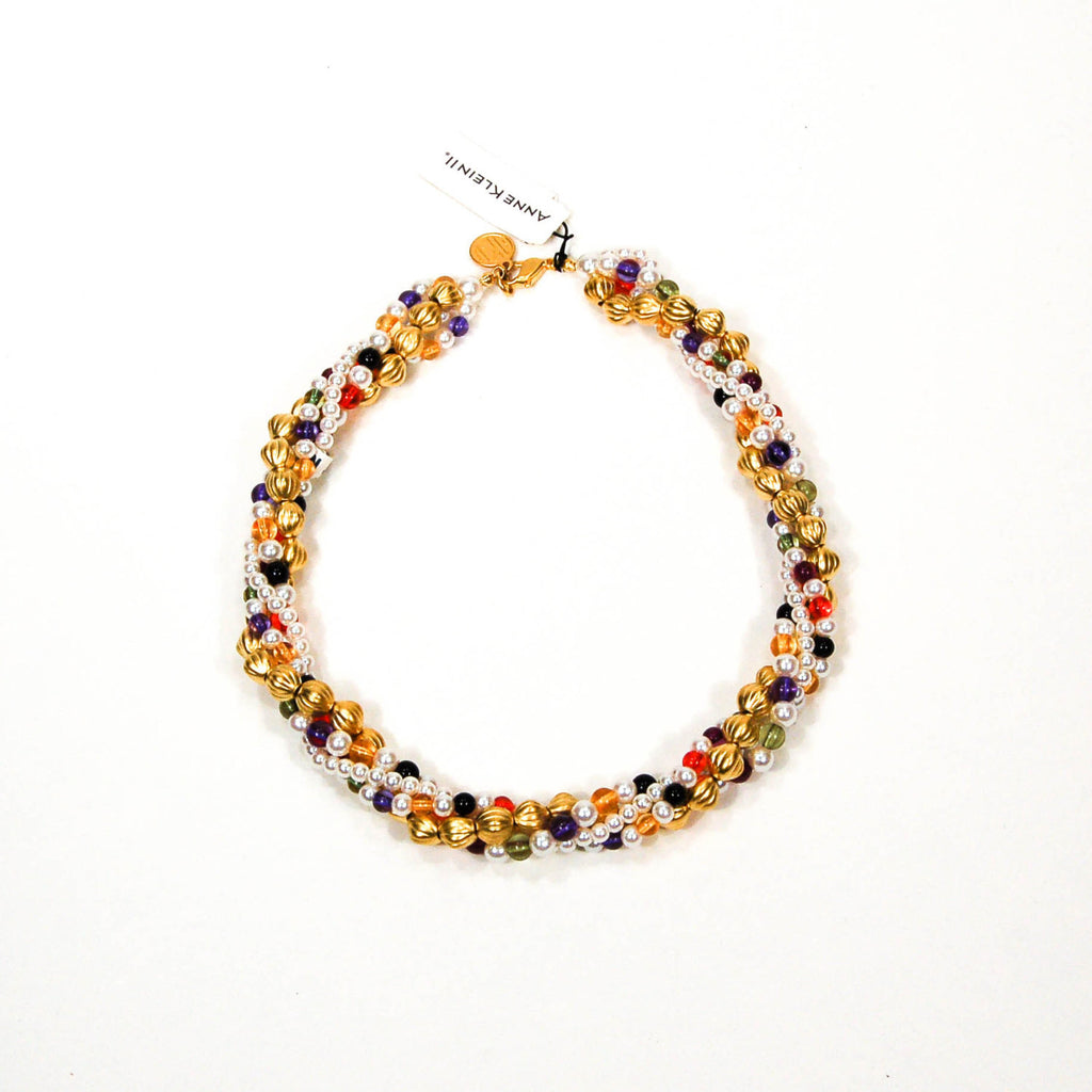 Colorful Beaded Necklace by Anne Klein - Vintage Meet Modern  - 3