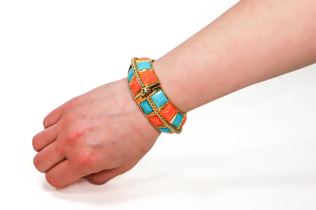 Coral and Turquoise Statement Bracelet by KJL - Vintage Meet Modern  - 5