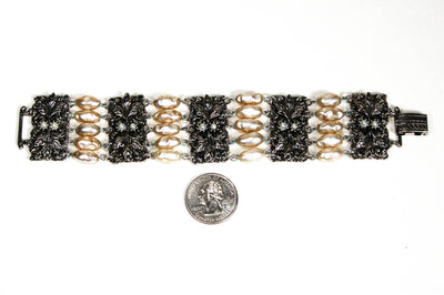 Victorian Revival Pearl and Silver Bead Bracelet by Judy Lee, Bracelet - Vintage Meet Modern