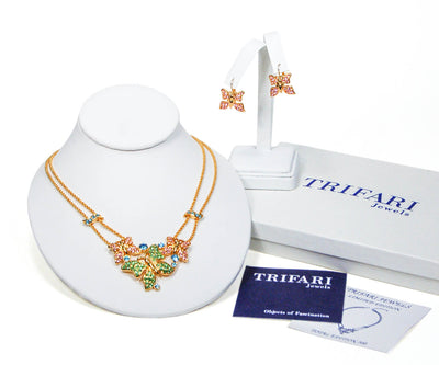 Trifari Butterfly Necklace and Earring Set Gold Tone  with Pastel Colored Rhinestones by Crown Trifari - Vintage Meet Modern - Chicago, Illinois
