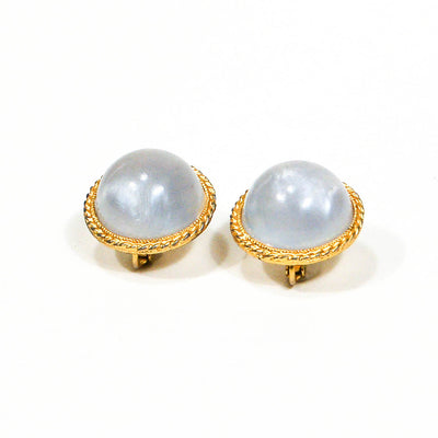 Moonstone Lucite Clip Earrings, Earrings - Vintage Meet Modern