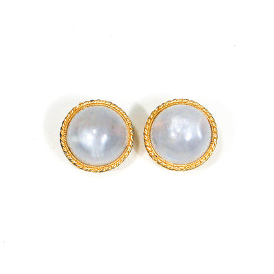 Moonstone Lucite Clip Earrings by 1960s Vintage - Vintage Meet Modern - Chicago, Illinois