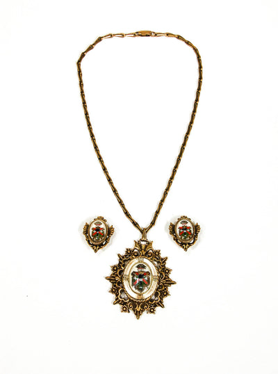 Coat of Arms Pendant Necklace and Earrings Set by 1960s Vintage - Vintage Meet Modern Vintage Jewelry - Chicago, Illinois - #oldhollywoodglamour #vintagemeetmodern #designervintage #jewelrybox #antiquejewelry #vintagejewelry