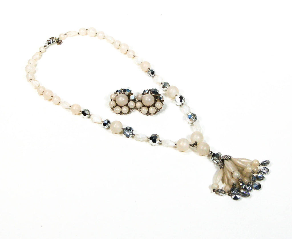 Moonglow Lucite and Silver Crystal Beaded Tassel Necklace and Earring Set by Judy Lee - Vintage Meet Modern  - 1