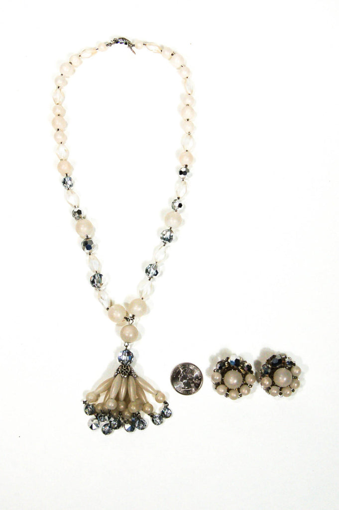 Moonglow Lucite and Silver Crystal Beaded Tassel Necklace and Earring Set by Judy Lee - Vintage Meet Modern  - 2