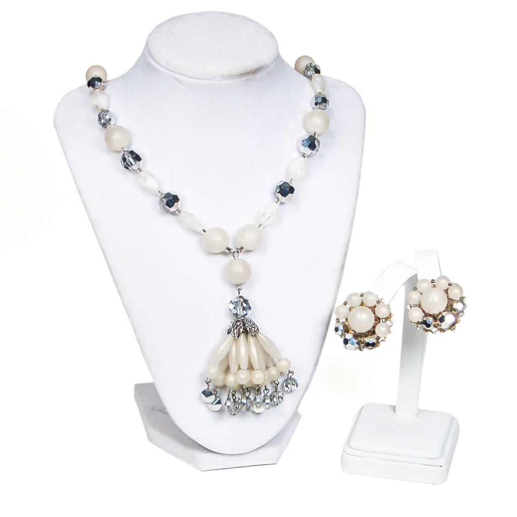 Moonglow Lucite and Silver Crystal Beaded Tassel Necklace and Earring Set by Judy Lee - Vintage Meet Modern  - 3
