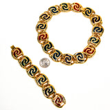 Bold Gold and Jewel Tone Statement Necklace and Bracelet Set - Vintage Meet Modern  - 4