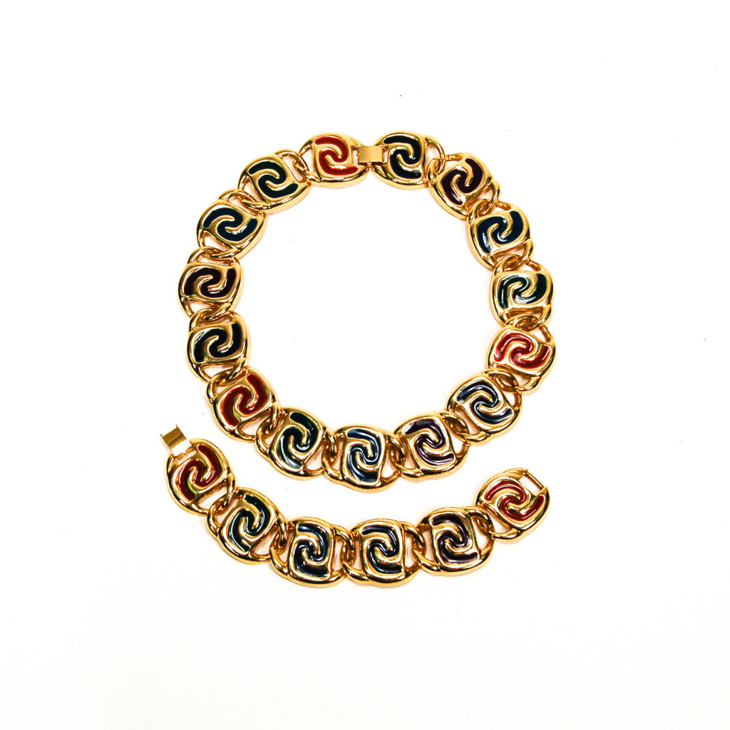 Bold Gold and Jewel Tone Statement Necklace and Bracelet Set - Vintage Meet Modern  - 1