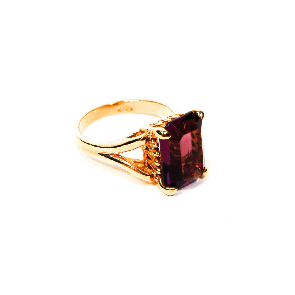 Purple Rhinestone Cocktail Statement Ring, rings - Vintage Meet Modern