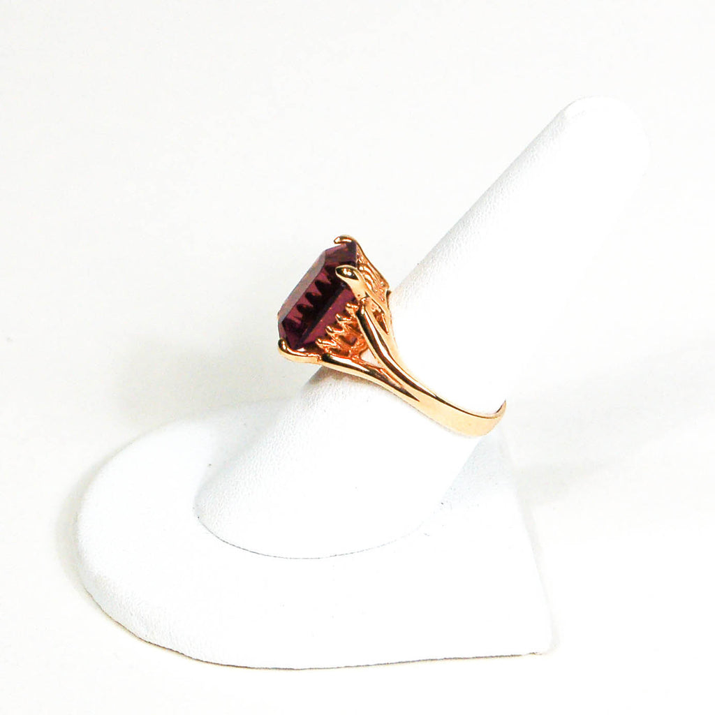 Purple Rhinestone Cocktail Statement Ring - Vintage Meet Modern  - 3
