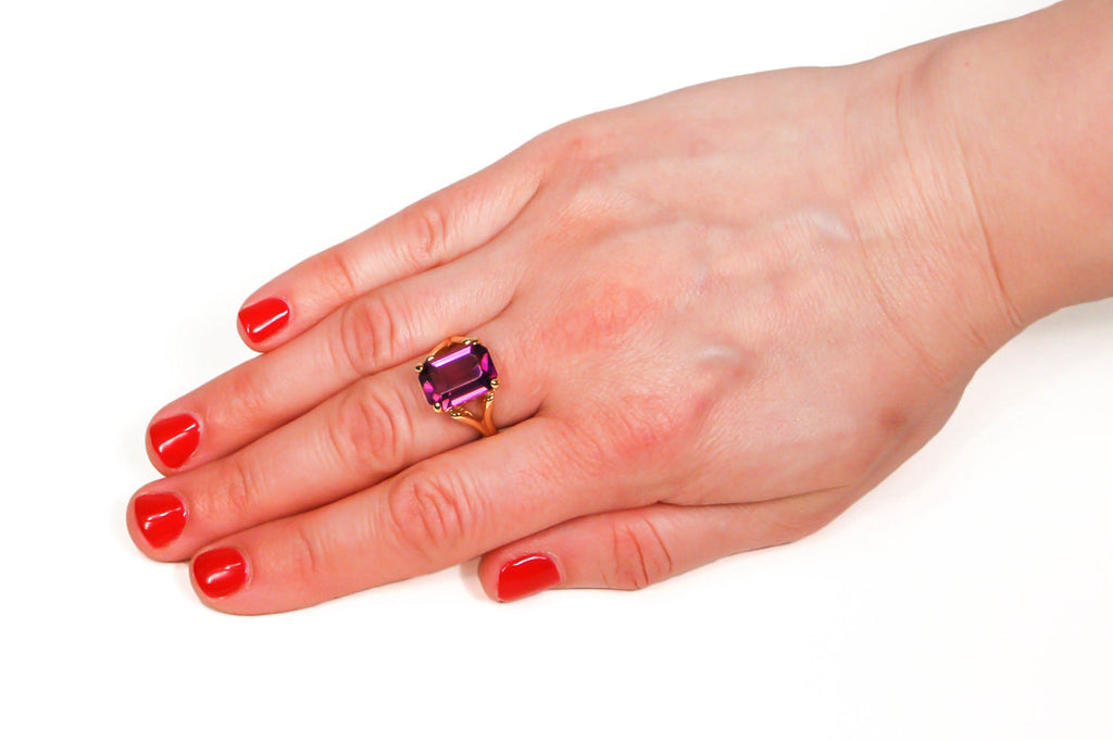 Purple Rhinestone Cocktail Statement Ring - Vintage Meet Modern  - 4