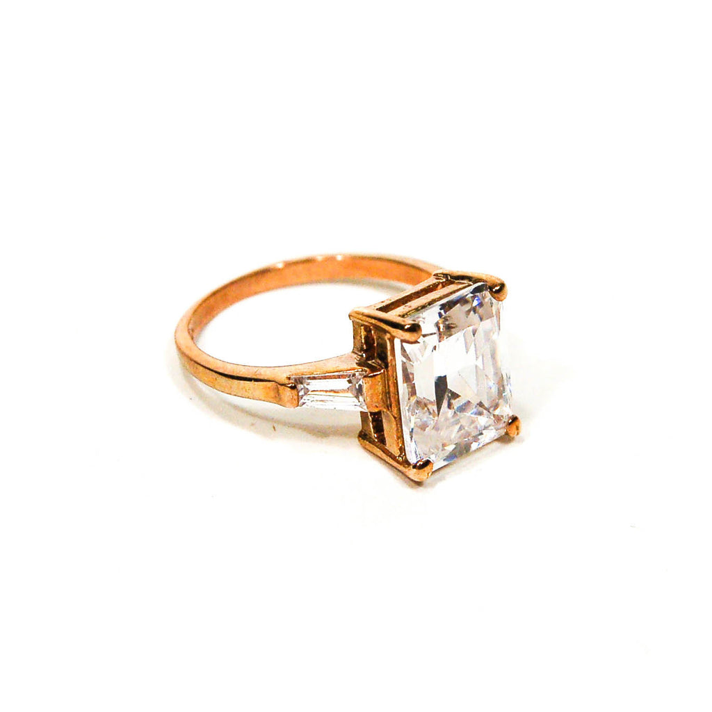 Emerald Cut CZ 18kt Gold Vermeil Engagement  Ring - Vintage Meet Modern  - 1