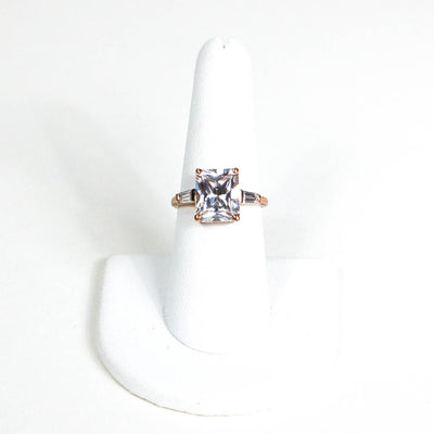 Emerald Cut CZ 18kt Gold Vermeil Engagement  Ring by 1980s - Vintage Meet Modern - Chicago, Illinois