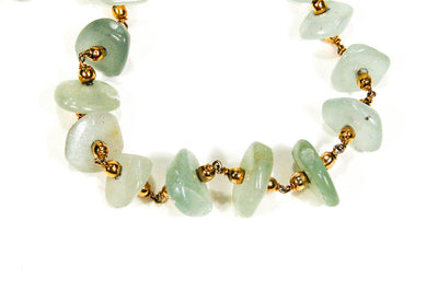 Aquamarine and Gold Bead Necklace, Necklaces - Vintage Meet Modern