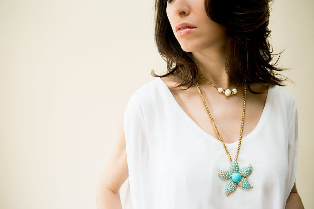 Turquoise Starfish Pendant Necklace by Kenneth Lane - Vintage Meet Modern  - 1