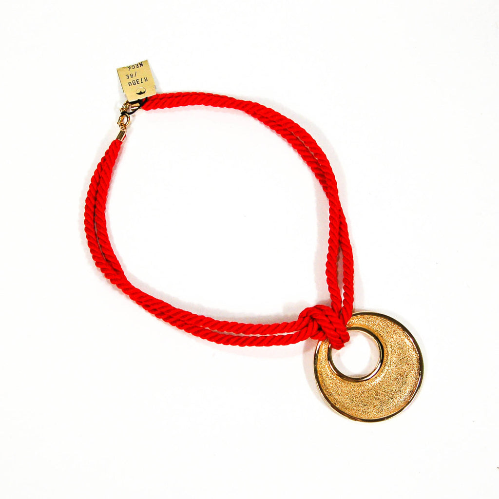 1970's Red Silk Cord Necklace with Gold Pendant by Genevieve, Necklaces - Vintage Meet Modern