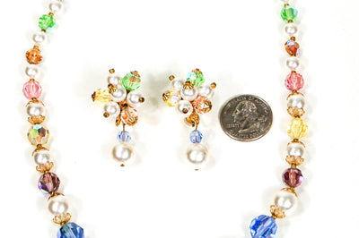 1960's Pastel Crystal and Pearl Necklace and Earrings Set by 1960s Vintage - Vintage Meet Modern - Chicago, Illinois