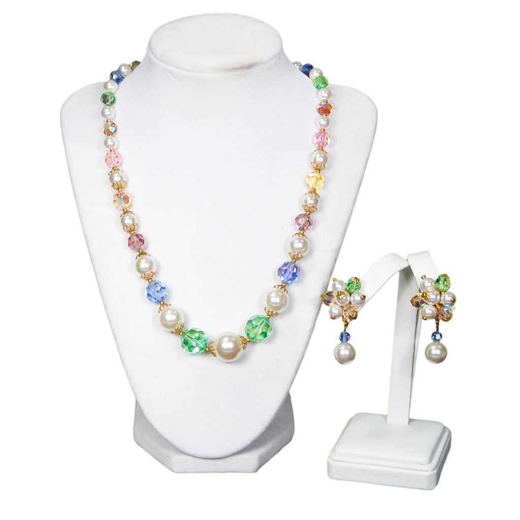 1960's Pastel Crystal and Pearl Necklace and Earrings Set, Jewelry Sets - Vintage Meet Modern