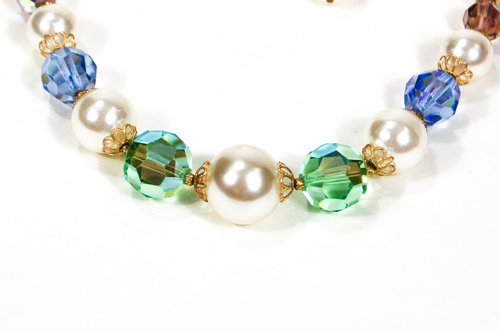 1960's Pastel Crystal and Pearl Necklace and Earrings Set - Vintage Meet Modern  - 3