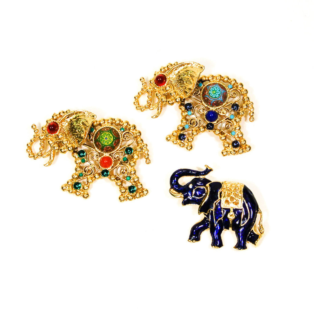 Bejeweled Moroccan Elephant Brooch by Juliana D & E, Brooches - Vintage Meet Modern