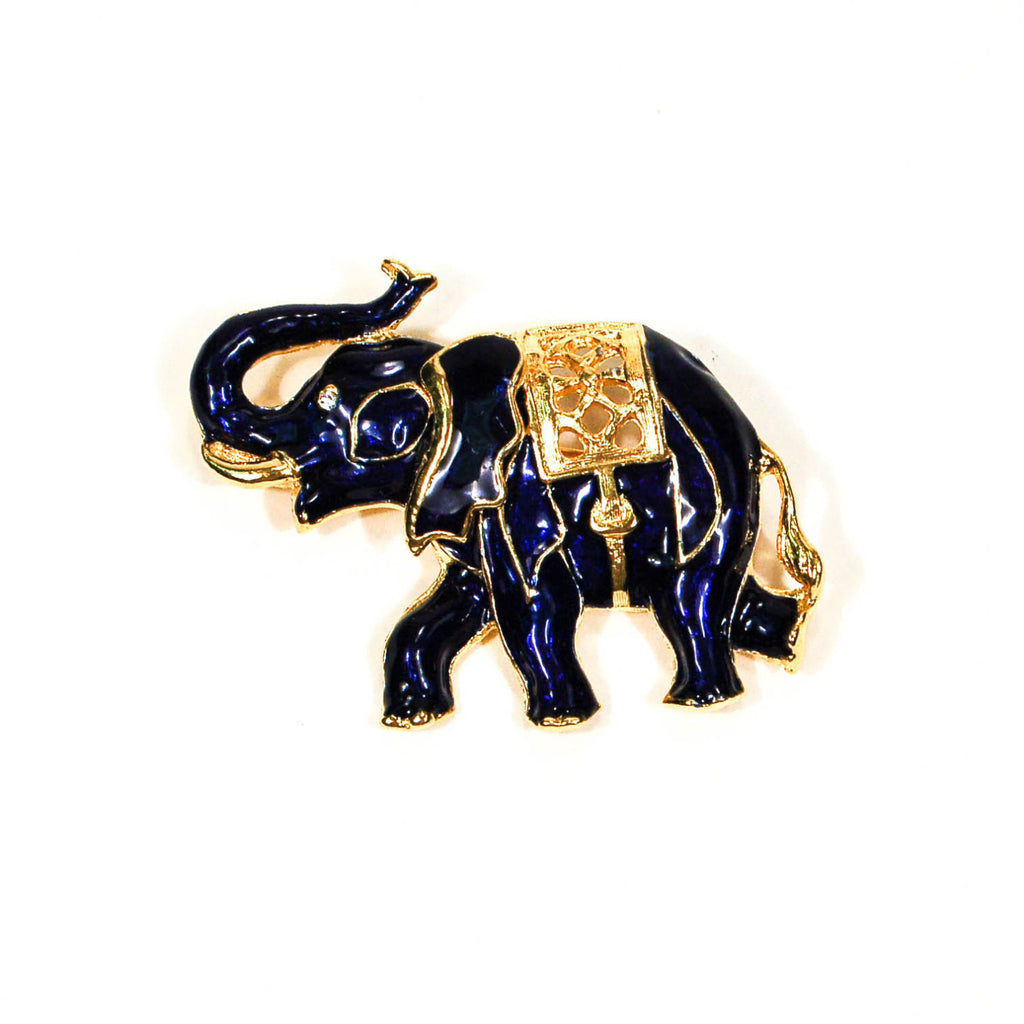 Sapphire Blue and Gold Tone Walking Elephant Brooch - Vintage Meet Modern  - 1