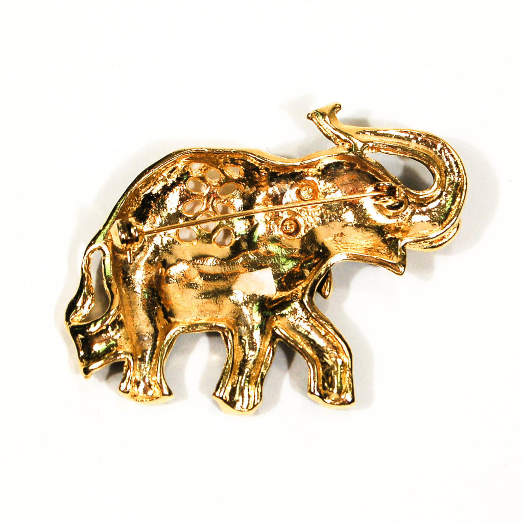 Sapphire Blue and Gold Tone Walking Elephant Brooch - Vintage Meet Modern  - 3