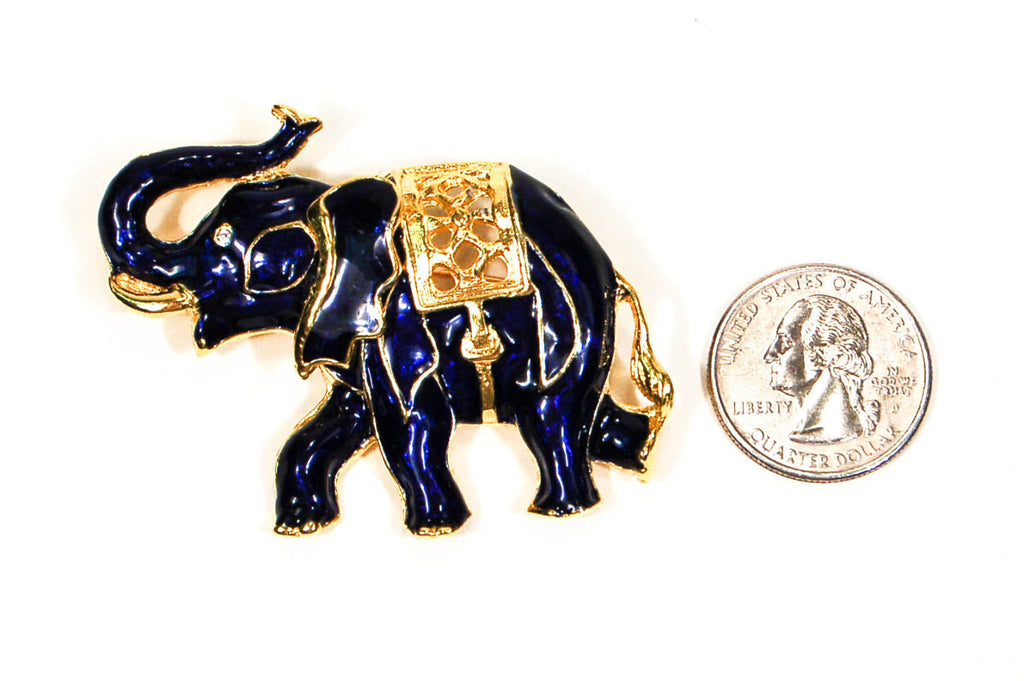 Sapphire Blue and Gold Tone Walking Elephant Brooch - Vintage Meet Modern  - 4