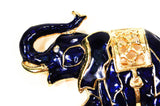 Sapphire Blue and Gold Tone Walking Elephant Brooch - Vintage Meet Modern  - 2