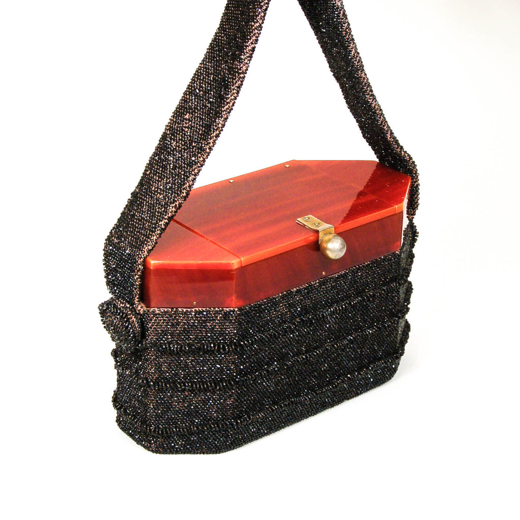 1960's Black Beaded Box Purse with Carnival Glass, Purses - Vintage Meet Modern