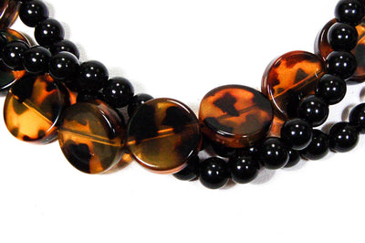 1970's Black Faux Tortoise Beaded Necklace by 1970's - Vintage Meet Modern - Chicago, Illinois